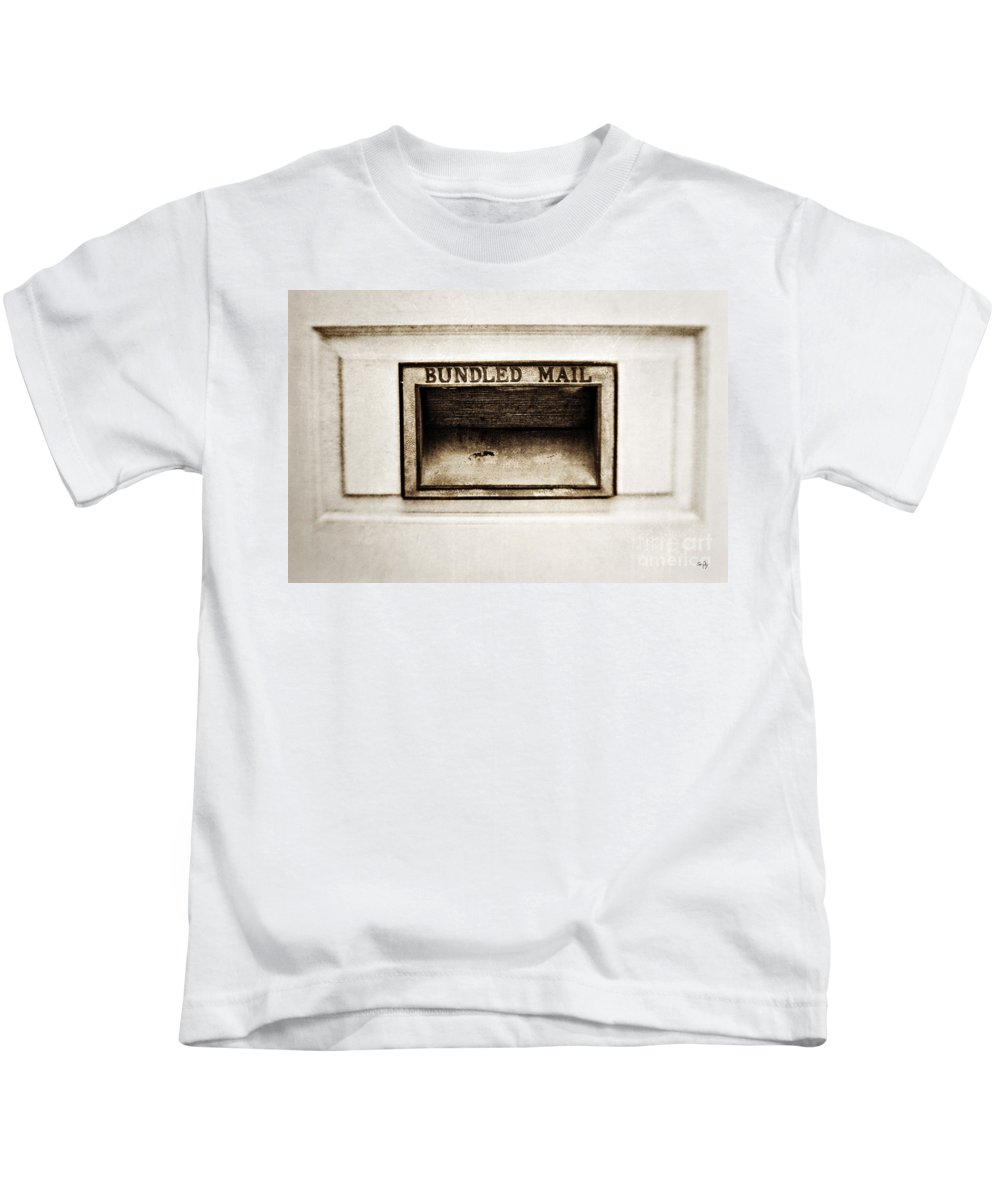 Mail Slot Kids T-Shirt featuring the photograph Bundled Mail by Scott Pellegrin
