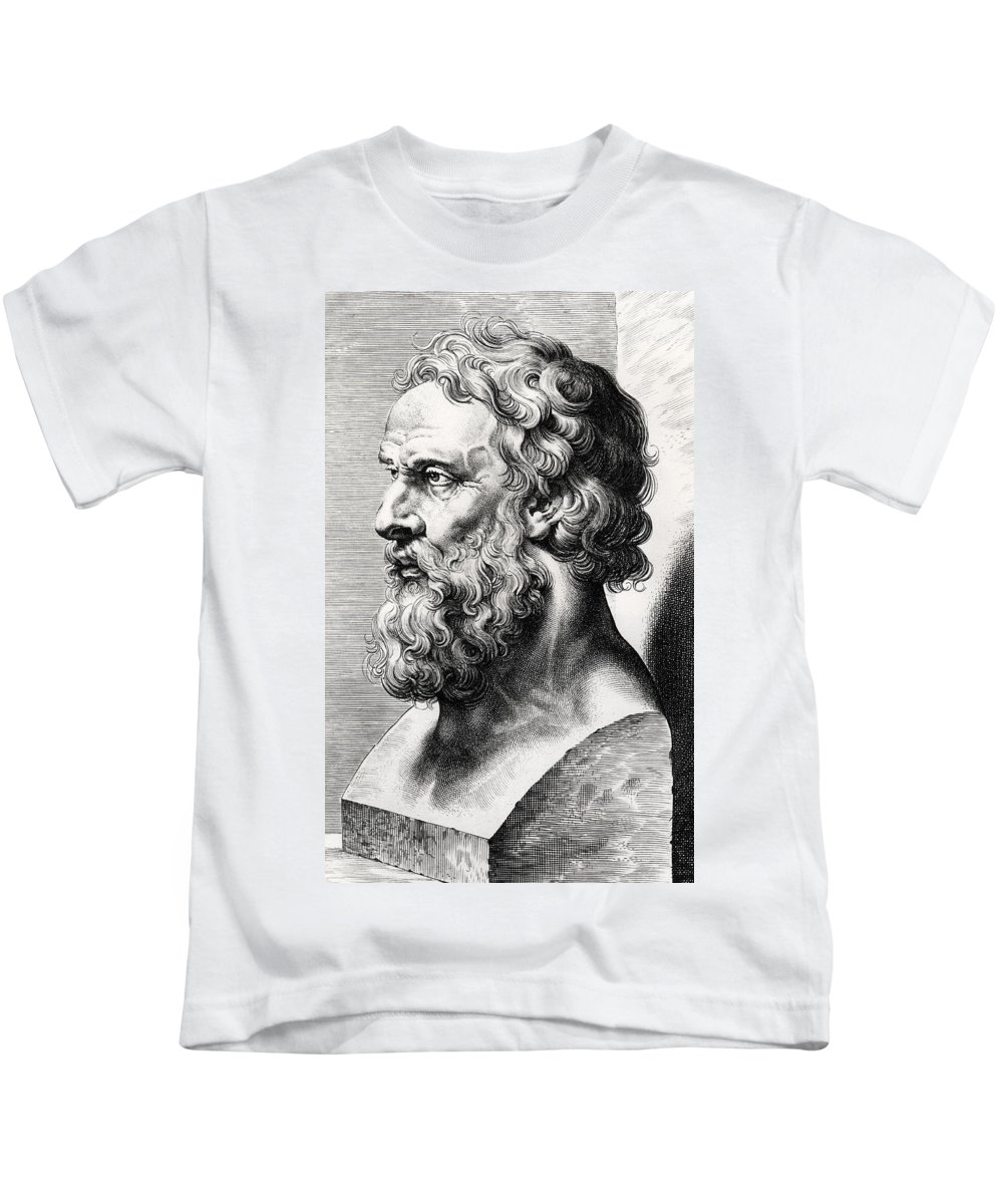 Plato Kids T-Shirt featuring the drawing Bust Of Plato by Lucas Emil Vorsterman