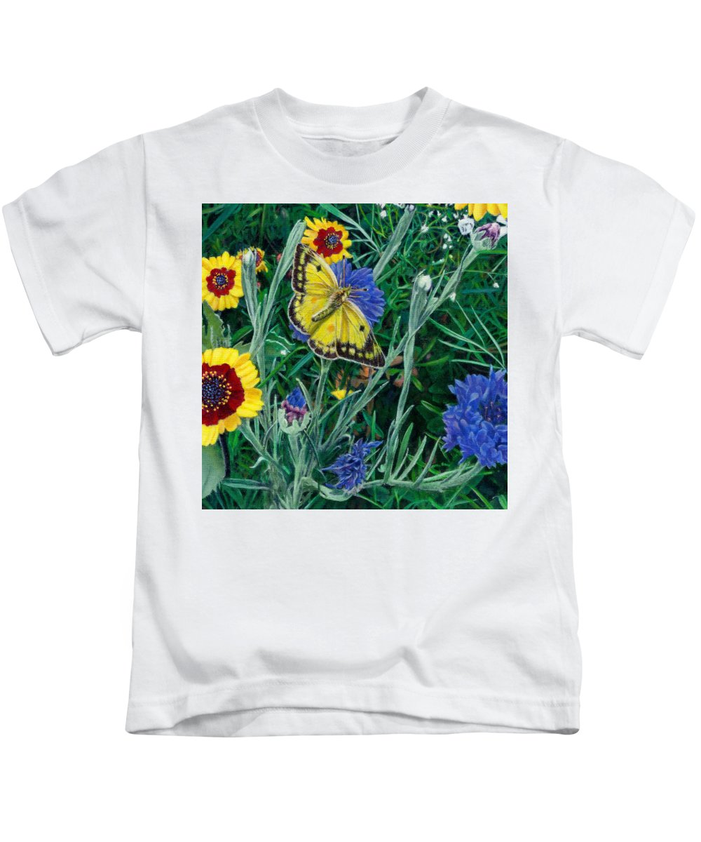 Butterfly Kids T-Shirt featuring the painting Butterfly And Wildflowers Spring Floral Garden Floral In Green And Yellow - Square Format Image by Walt Curlee