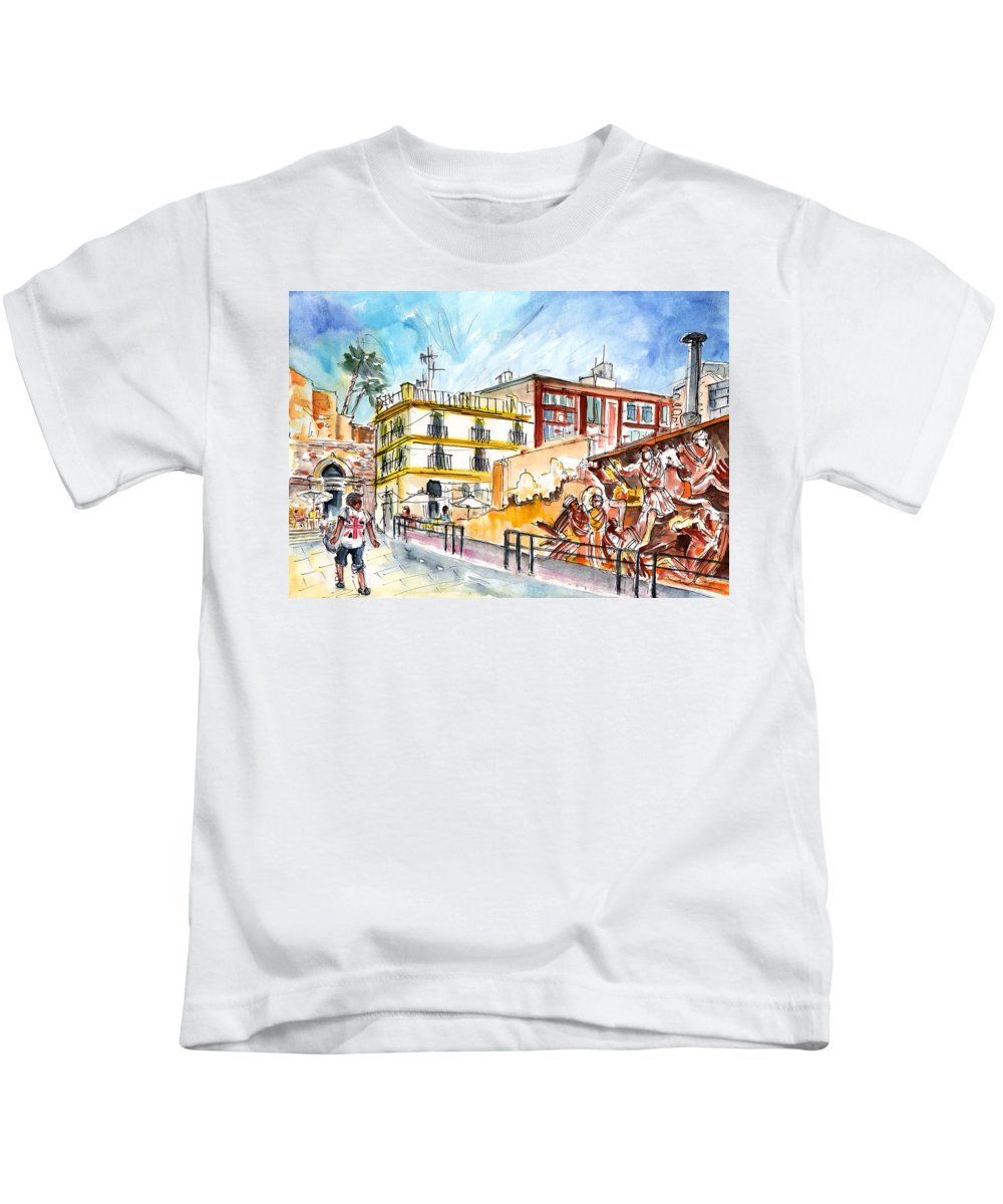 Travel Kids T-Shirt featuring the painting By The Old Cathedral In Cartagena 02 by Miki De Goodaboom