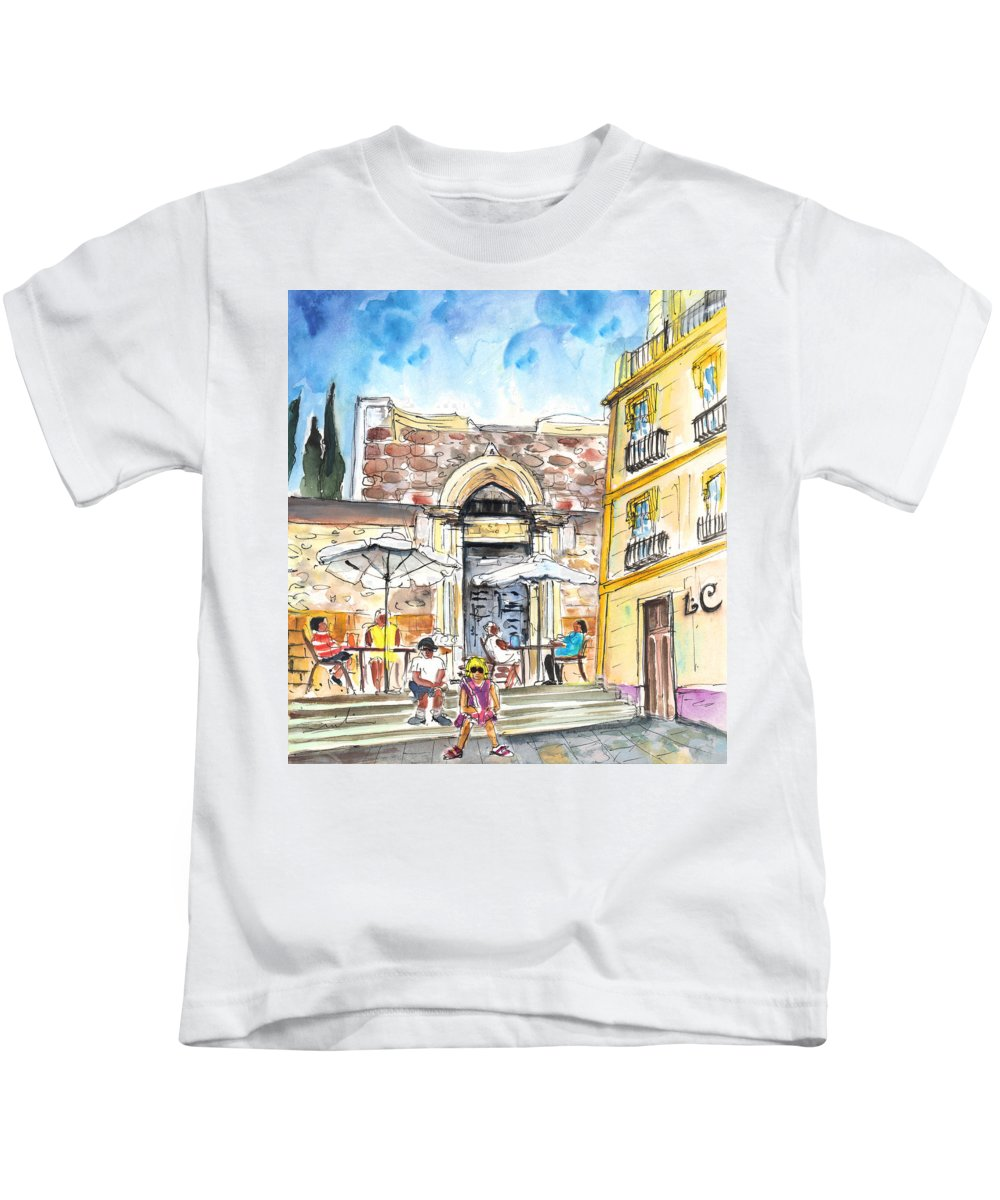 Travel Kids T-Shirt featuring the painting By The Old Cathedral In Cartagena 01 by Miki De Goodaboom
