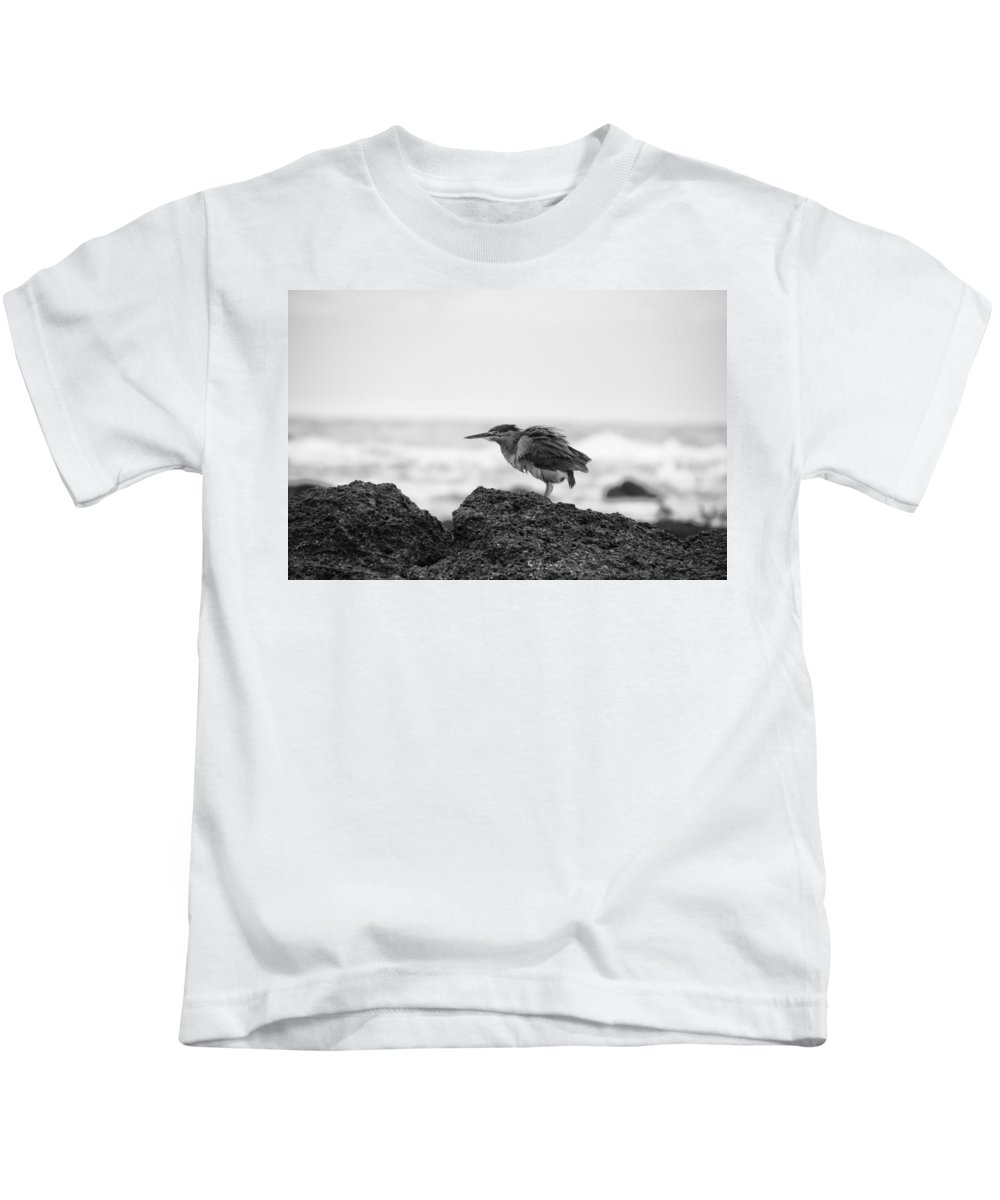 Heron Kids T-Shirt featuring the photograph By The Seaside by Douglas Barnard
