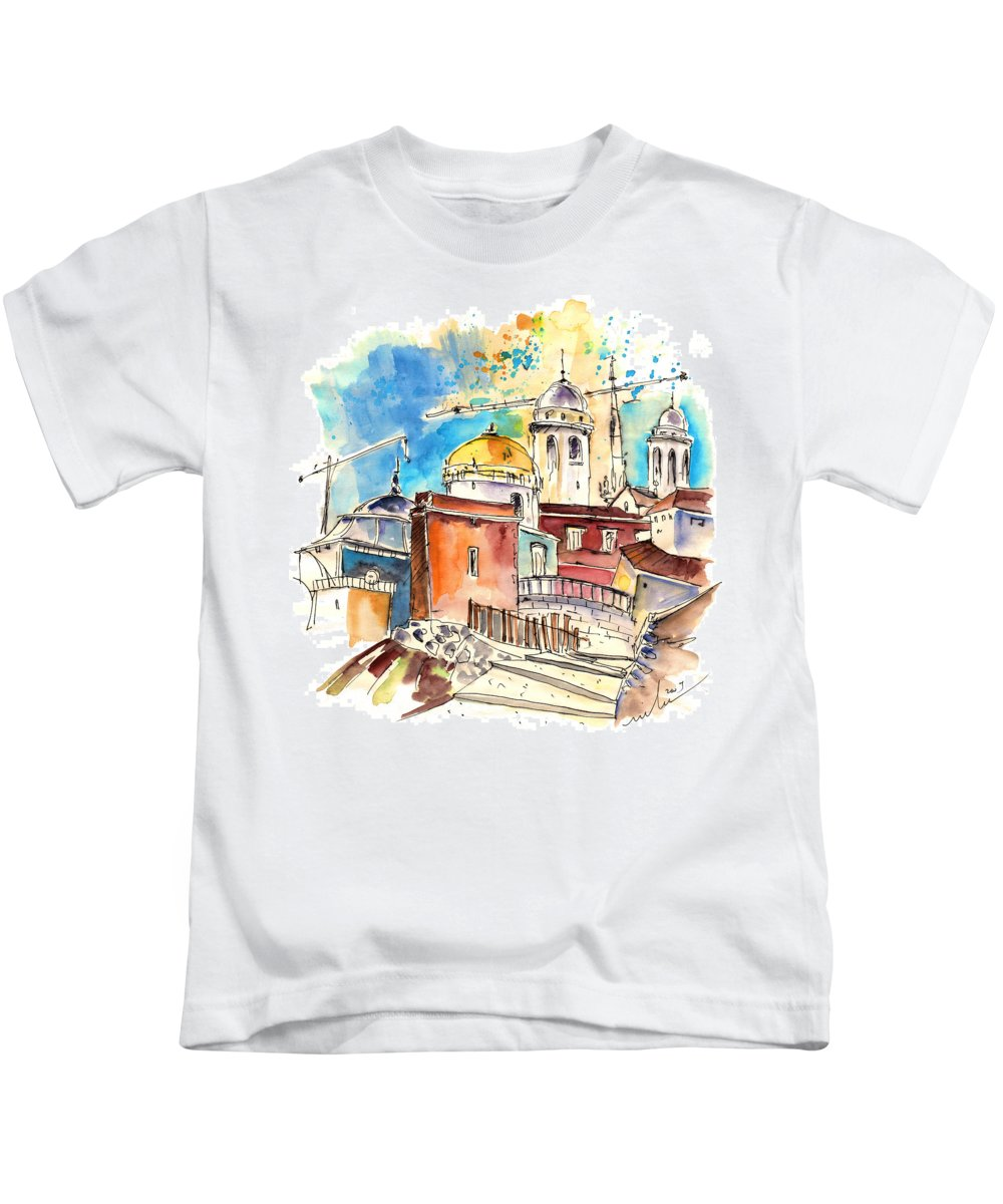 Travel Kids T-Shirt featuring the painting Cadiz Spain 02 by Miki De Goodaboom