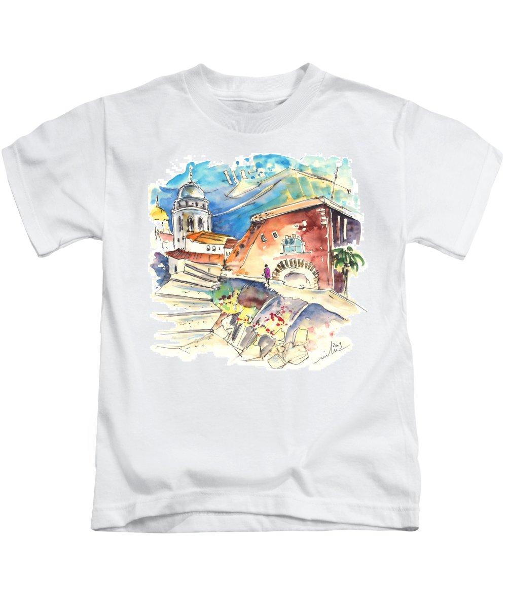 Travel Kids T-Shirt featuring the painting Cadiz Spain 03 by Miki De Goodaboom