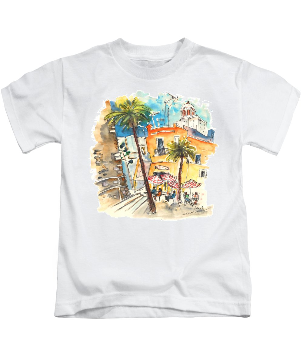 Travel Kids T-Shirt featuring the painting Cadiz Spain 04 by Miki De Goodaboom