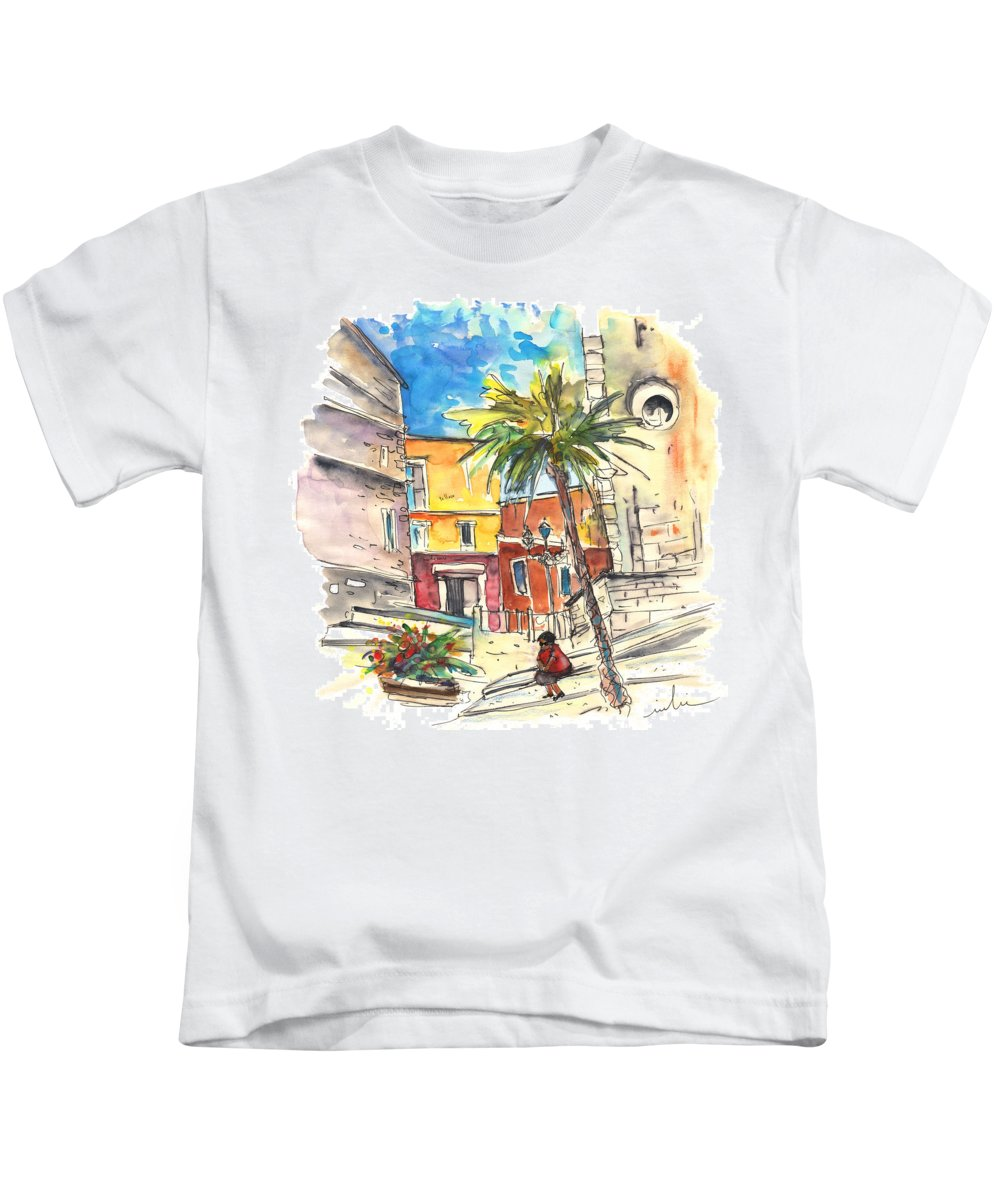 Travel Kids T-Shirt featuring the painting Cadiz Spain 05 by Miki De Goodaboom