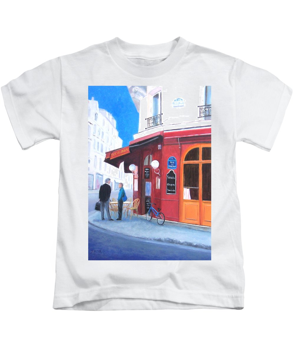 Cafe Des Musees Kids T-Shirt featuring the painting Cafe Des Musees Paris by Jan Matson