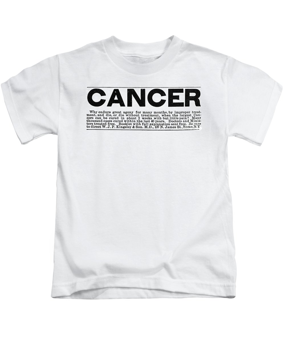 1875 Kids T-Shirt featuring the photograph Cancer Treatment, C1875 by Granger