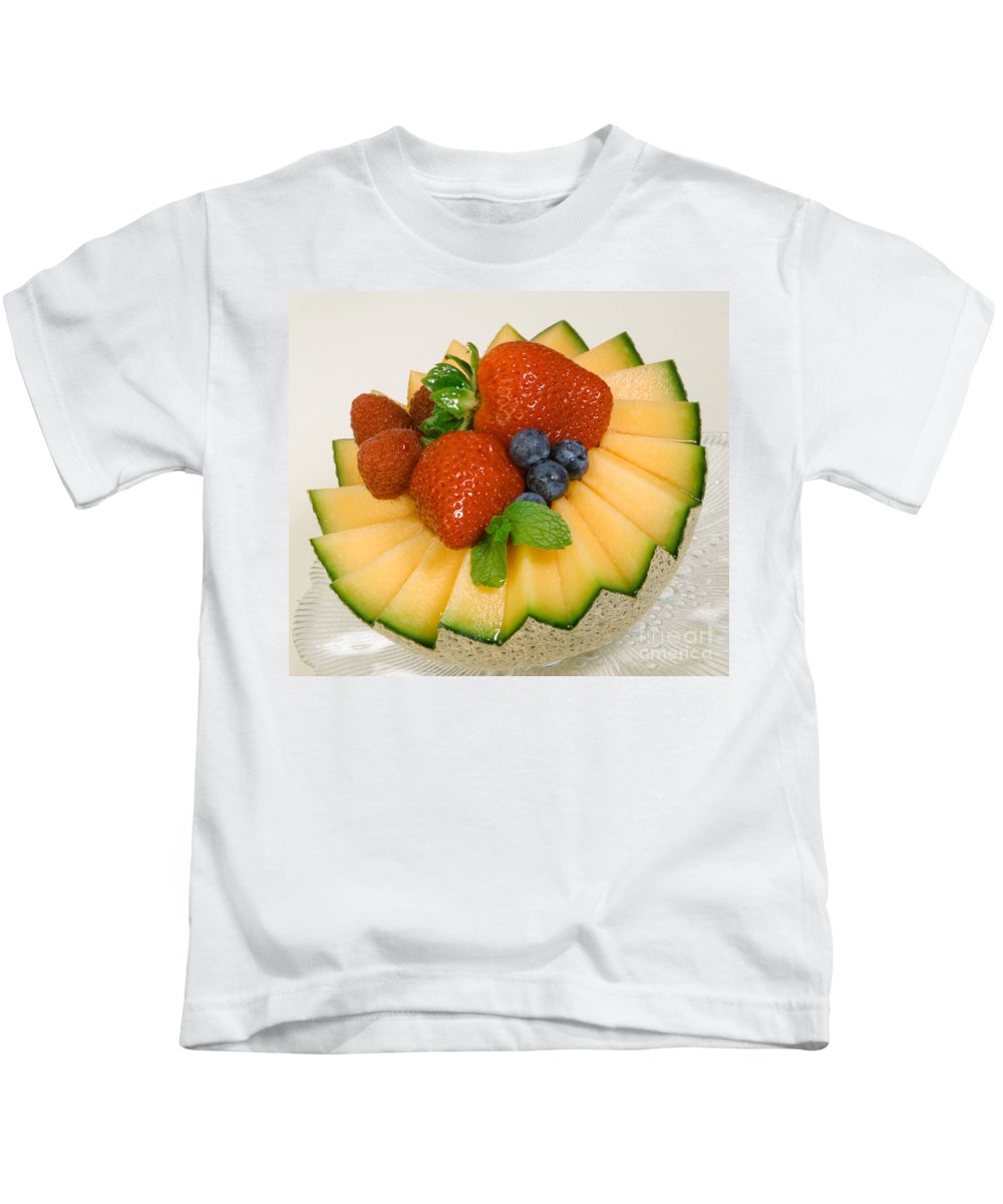 Iris Holzer Richardson Kids T-Shirt featuring the photograph Cantaloupe Breakfast by Iris Richardson