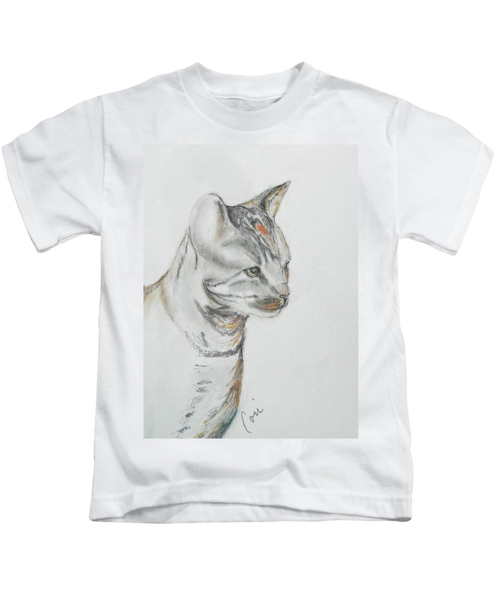 Colored Pencil Kids T-Shirt featuring the drawing Cappi by Cori Solomon