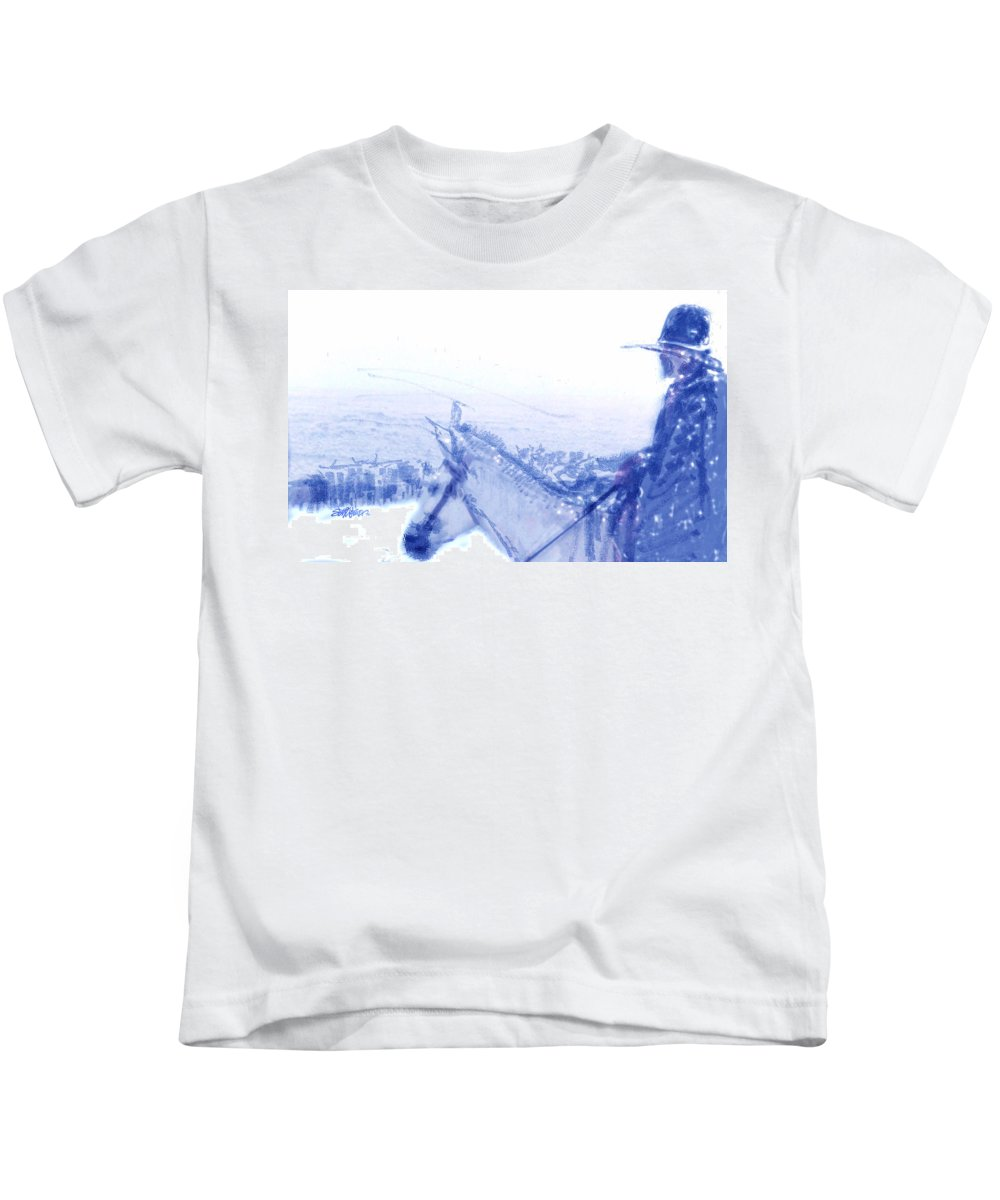 Capt. Call In A Snowstorm Kids T-Shirt featuring the drawing Capt. Call in a Snow Storm by Seth Weaver