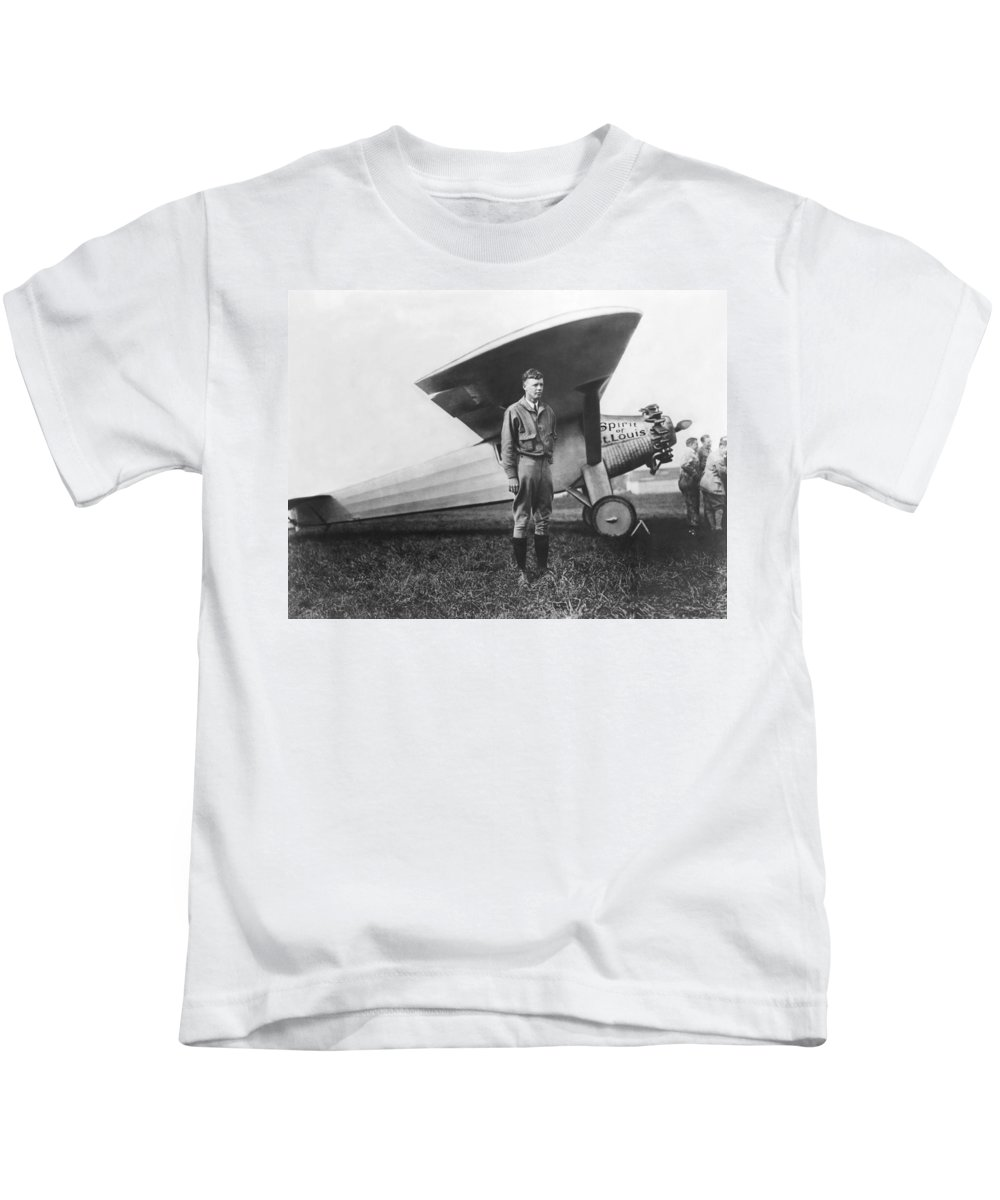 1927 Kids T-Shirt featuring the photograph Captain Charles Lindbergh by Underwood Archives