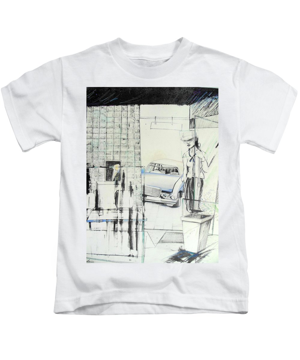 Carcrash Kids T-Shirt featuring the drawing Carcrash by Lucia Hoogervorst