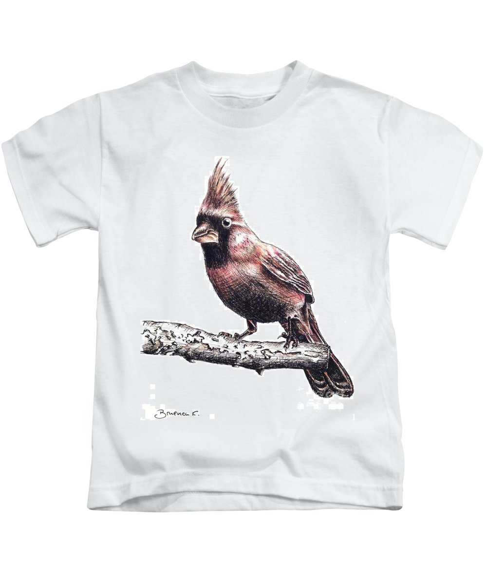 Ink Sketch Kids T-Shirt featuring the drawing Cardinal Male by Katharina Filus