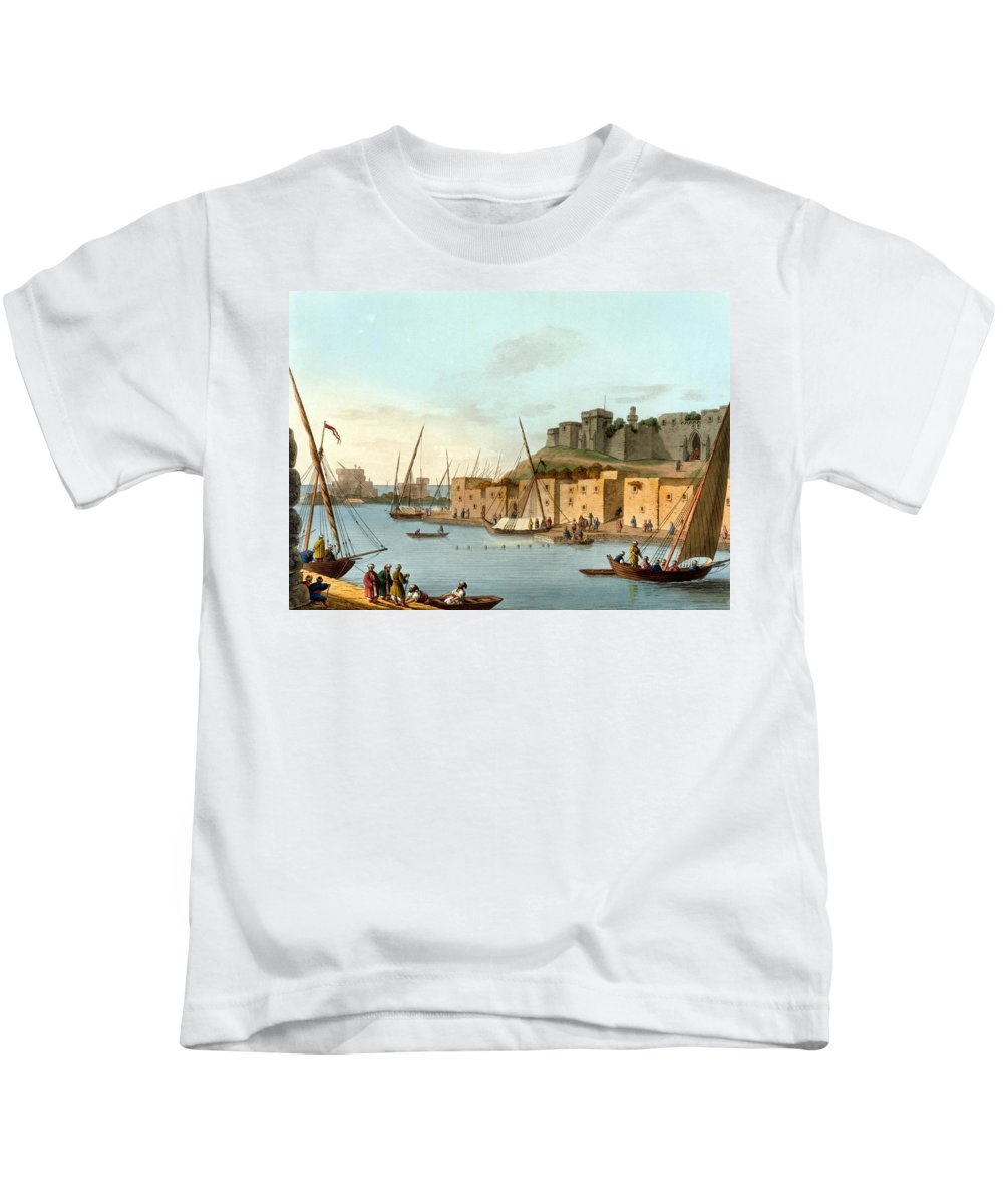 Castle Kids T-Shirt featuring the drawing Castle In The Island Of Torosa by Luigi Mayer