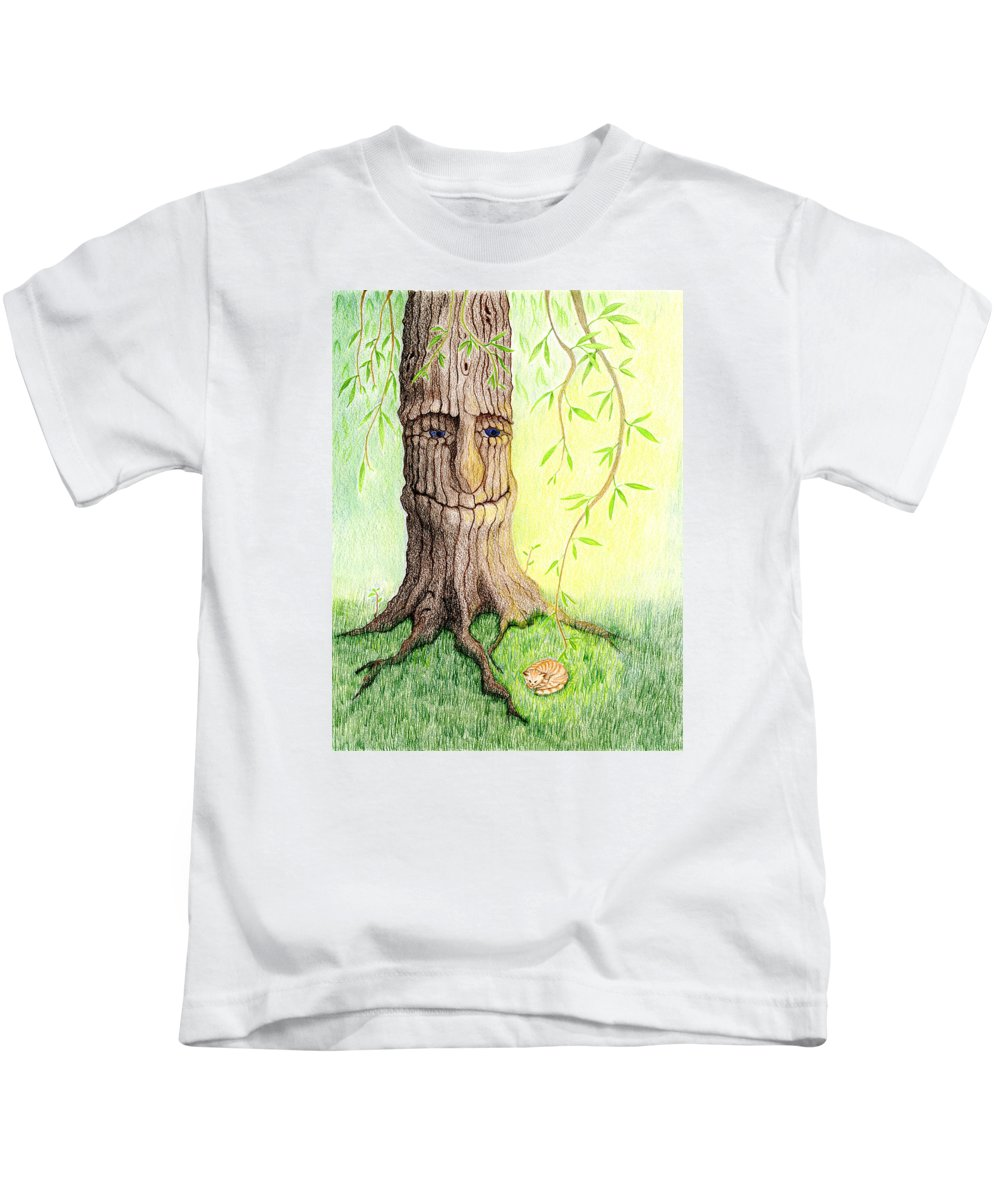 Ginger Kitten Kids T-Shirt featuring the drawing Cat And Great Mother Tree by Keiko Katsuta