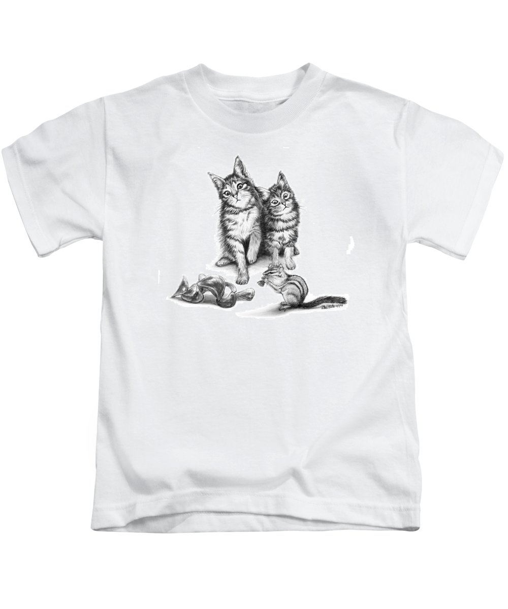Cat Chips Kids T-Shirt featuring the drawing Cat Chips by Peter Piatt