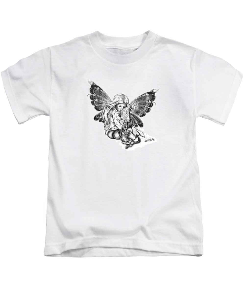 Cat Fairy Kids T-Shirt featuring the drawing Cat Fairy by Peter Piatt