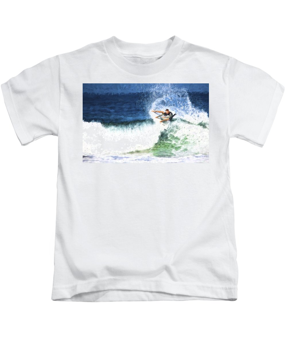 Surfer Kids T-Shirt featuring the photograph Catching a wave by Sheila Smart Fine Art Photography