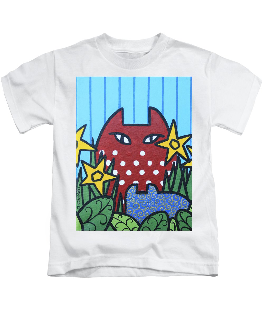 Cats Kids T-Shirt featuring the painting Cats 3 by Trudie Canwood