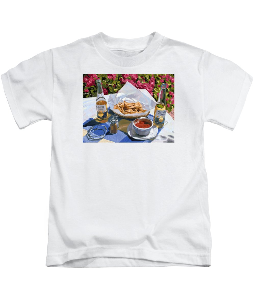 Beer Kids T-Shirt featuring the painting Cervezas Y Nachos - Coronas With Nachos by Steve Simon