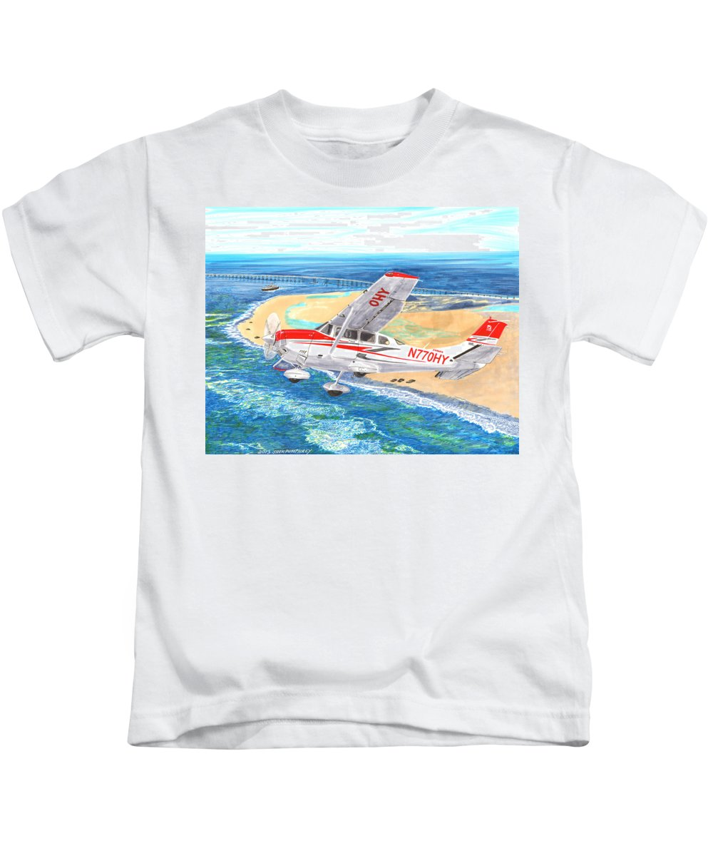Thank You For Buying A 9 X 12 Wood Print To The Customer From Florida Kids T-Shirt featuring the painting Cessna 206 Flying Over The Outer Banks by Jack Pumphrey