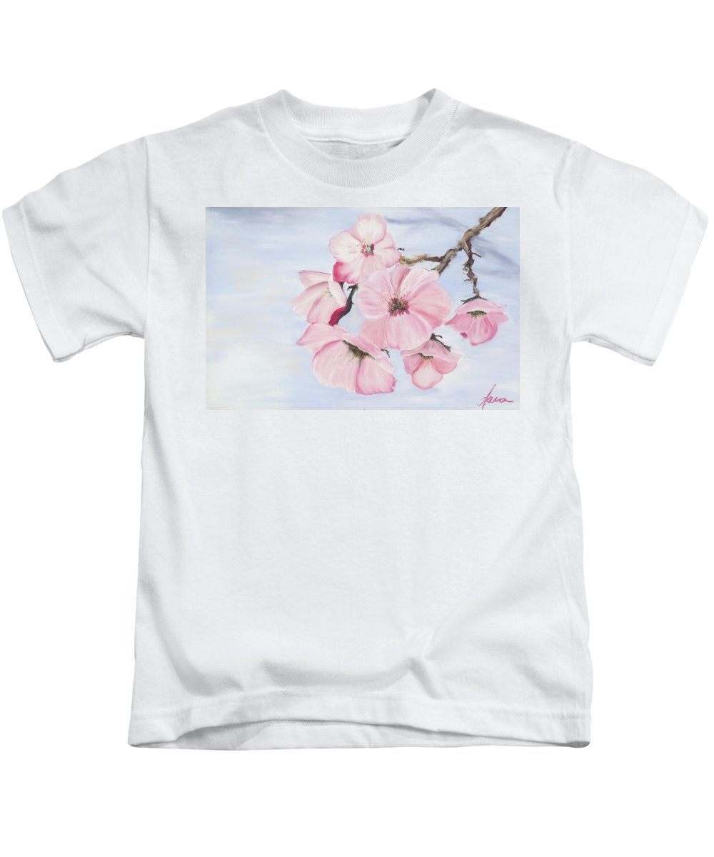 Cherry Blossoms Kids T-Shirt featuring the pastel Cherry Blossoms by Dana Strotheide