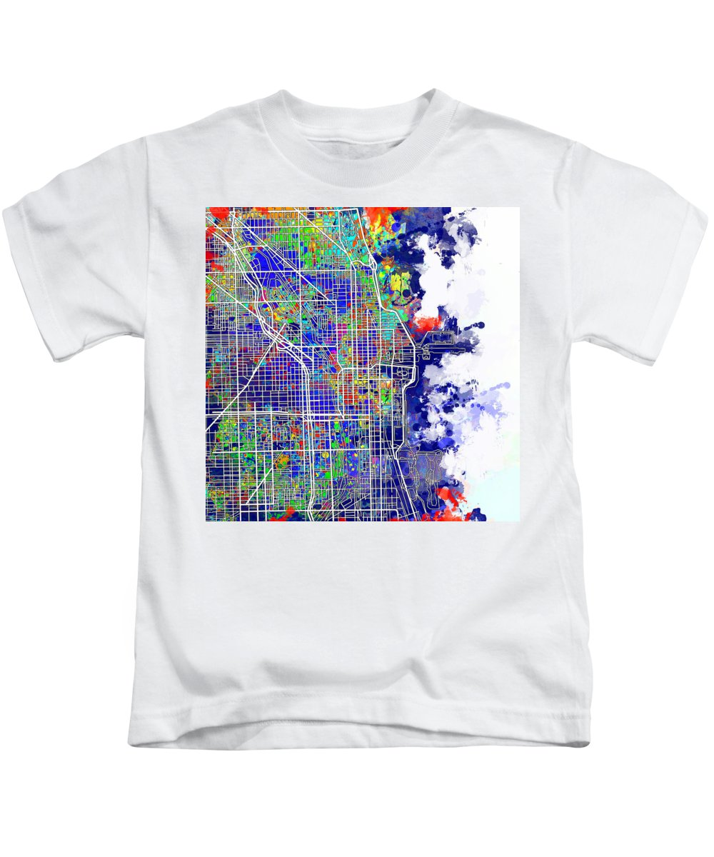 Chicago Kids T-Shirt featuring the painting Chicago Map Color Splash by Bekim M