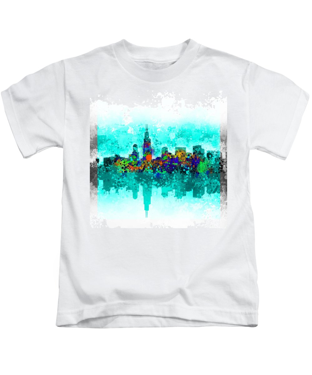 Chicago Skyline Kids T-Shirt featuring the painting Chicago Skyline Abstract by Bekim M