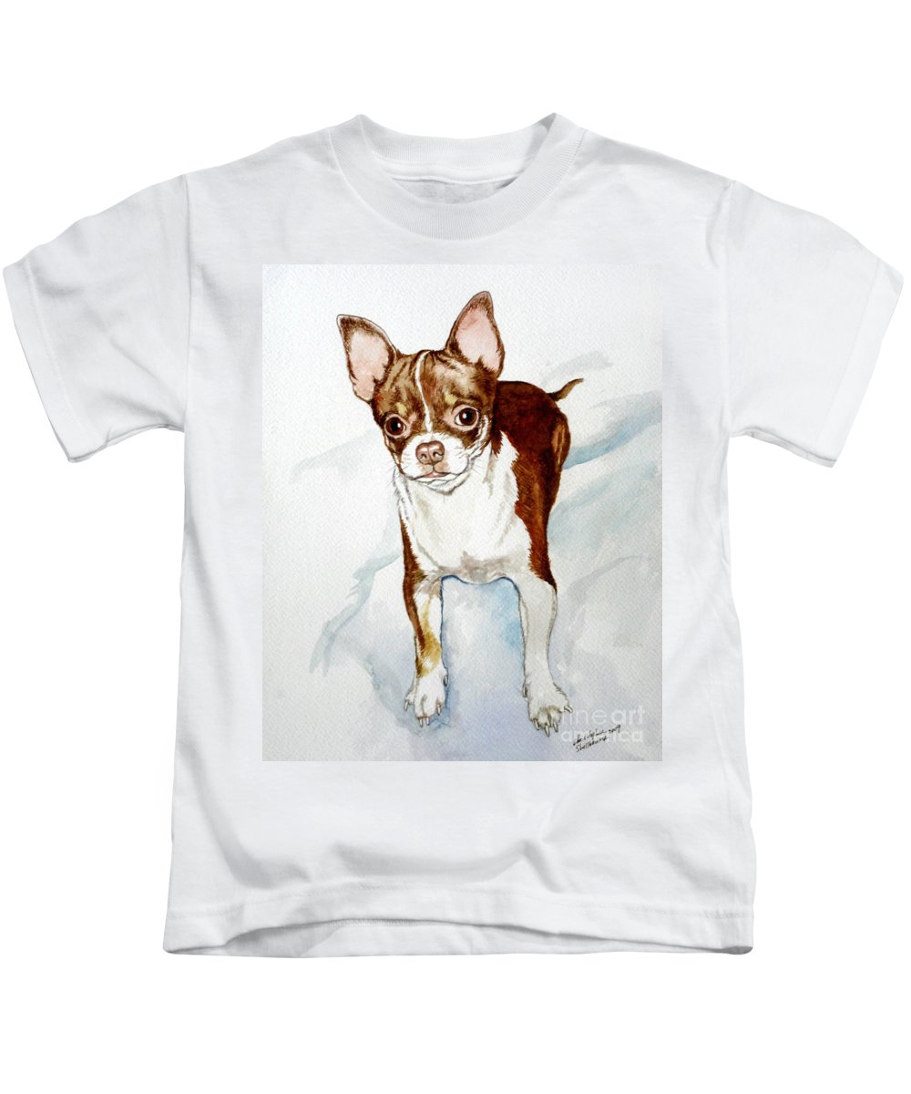 Dog Kids T-Shirt featuring the painting Chihuahua White Chocolate Color. by Christopher Shellhammer