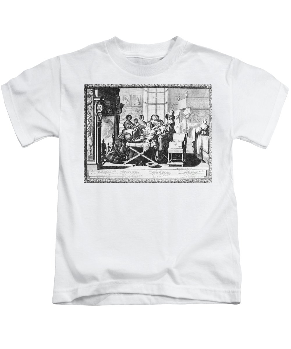 1633 Kids T-Shirt featuring the photograph Childbirth, 1633 by Granger