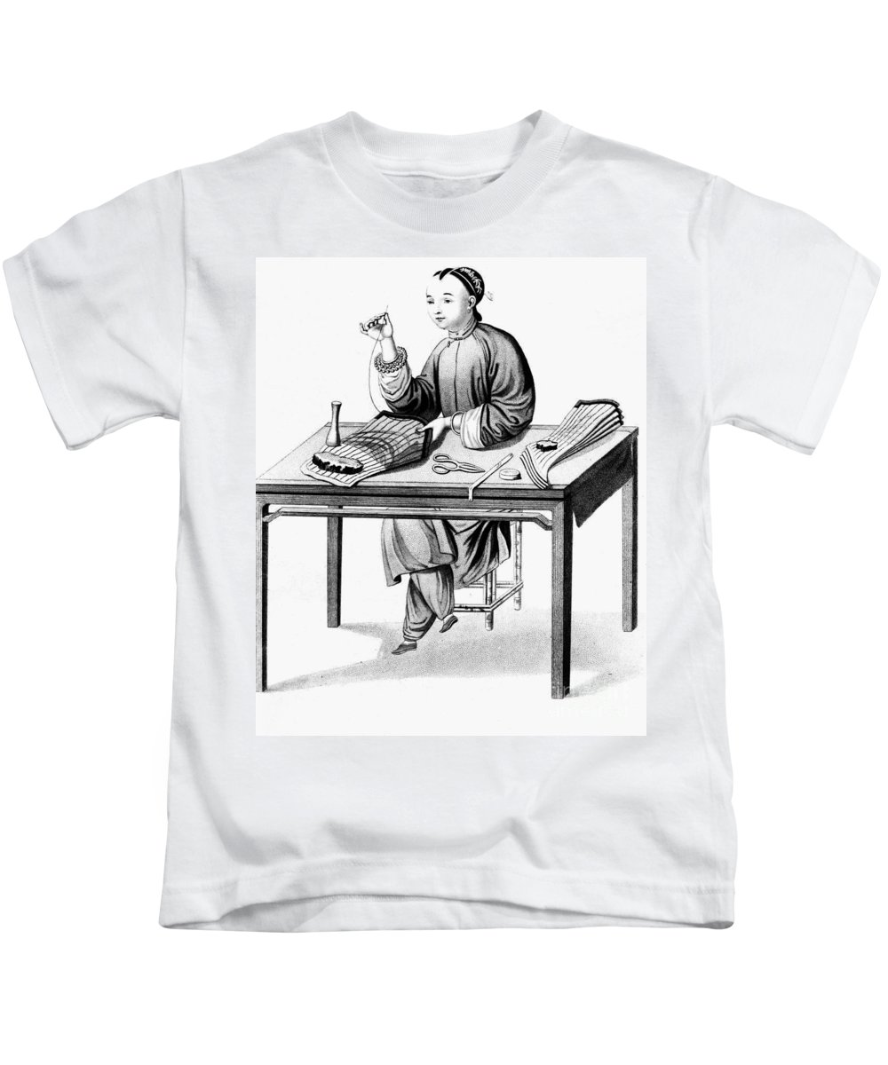 19th Century Kids T-Shirt featuring the photograph China: Stocking-maker by Granger