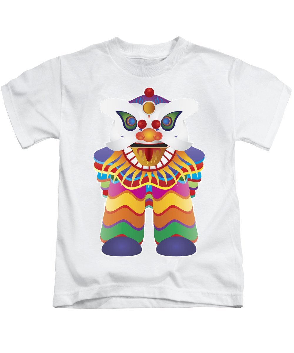 Chinese New Year Kids T-Shirt featuring the photograph Chinese New Year Lion Dance Illustration by Jit Lim