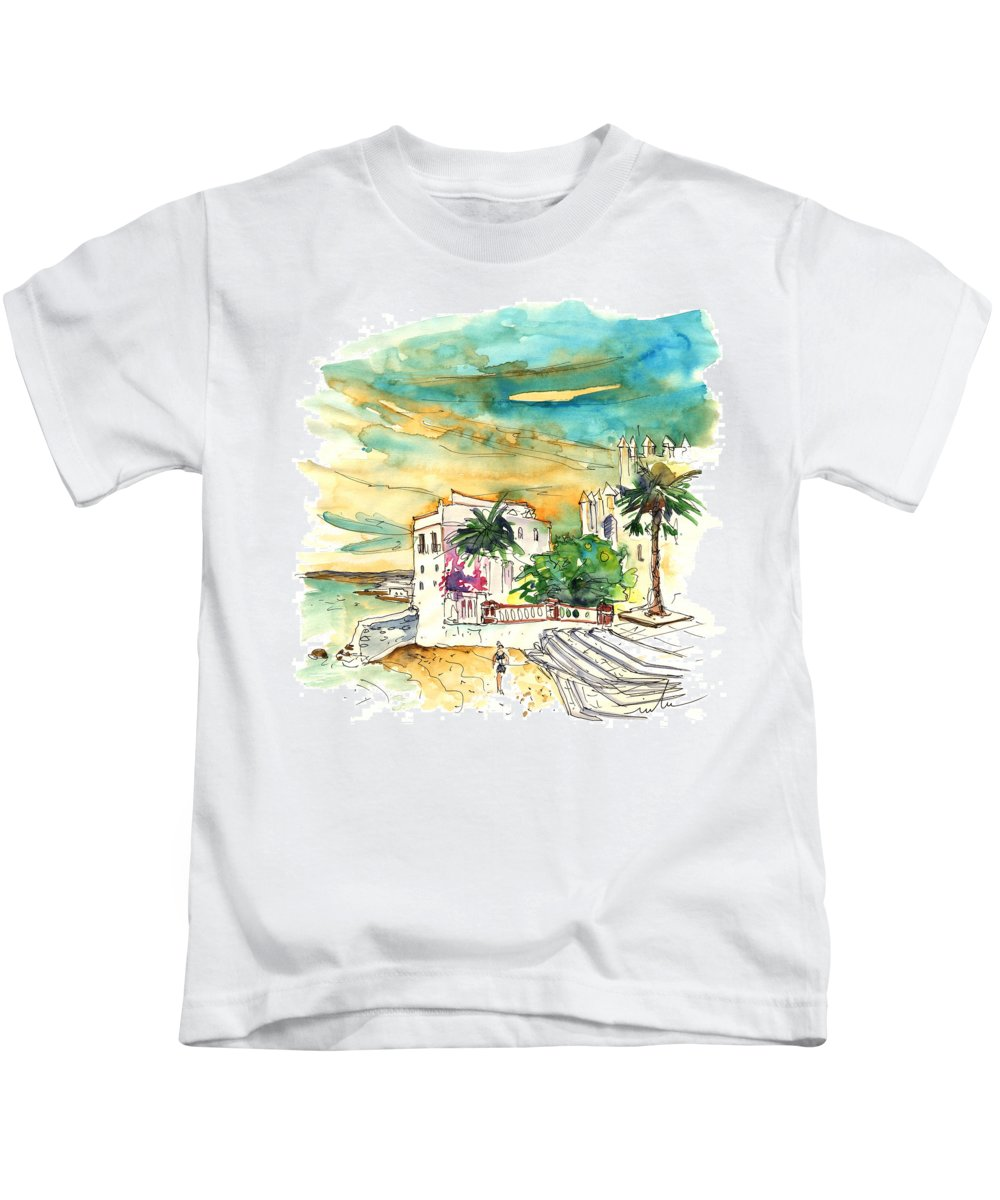 Travel Kids T-Shirt featuring the painting Chipiona Spain 04 by Miki De Goodaboom