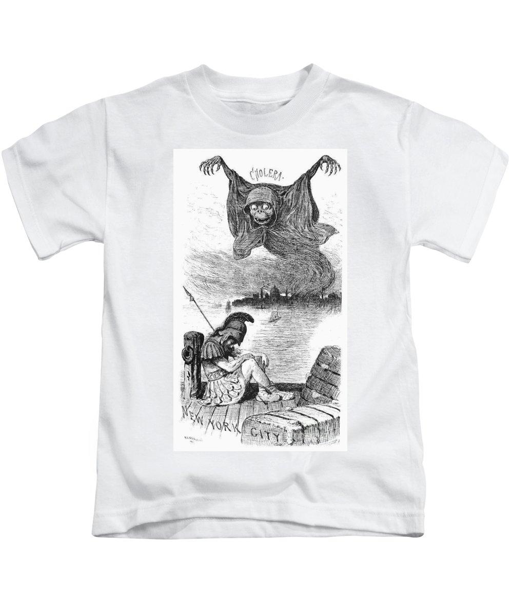 1883 Kids T-Shirt featuring the photograph Cholera Cartoon, 1883 by Granger