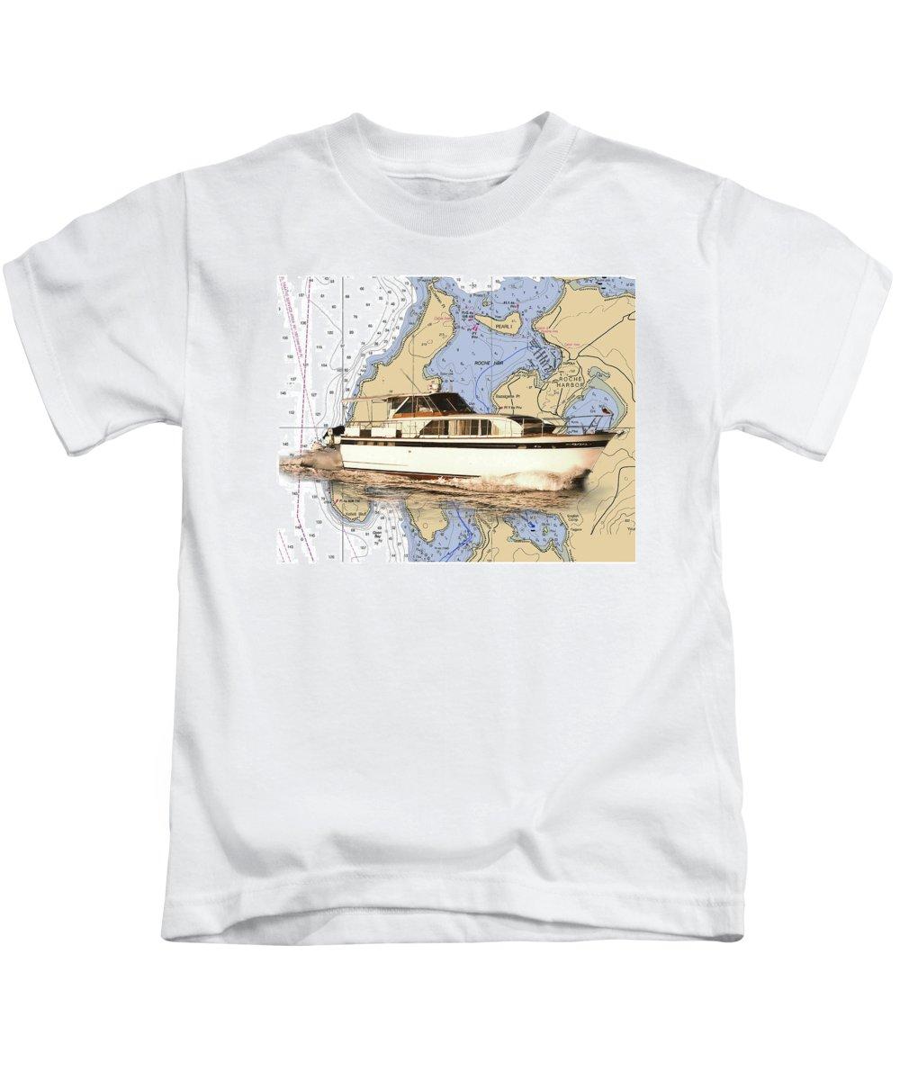 Yacht Portraits Kids T-Shirt featuring the photograph Chris Craft On A Chart Of San Juan Islands Chart by Jack Pumphrey