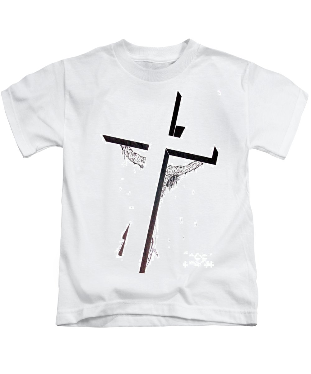 Christ Kids T-Shirt featuring the drawing Christ On Cross by Justin Moore