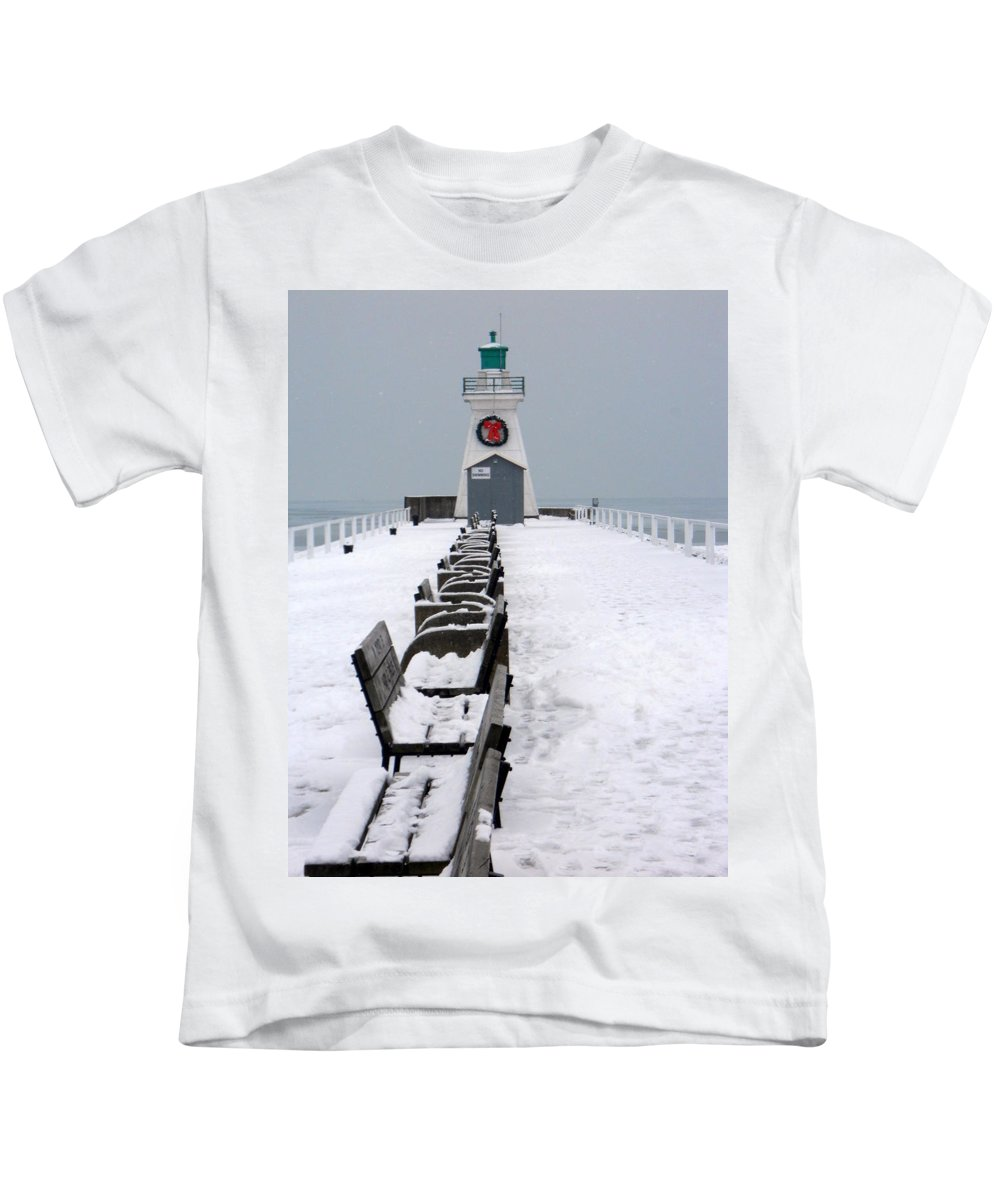 Lighthouse Kids T-Shirt featuring the photograph Christmas Lighthouse by Scott Emerling
