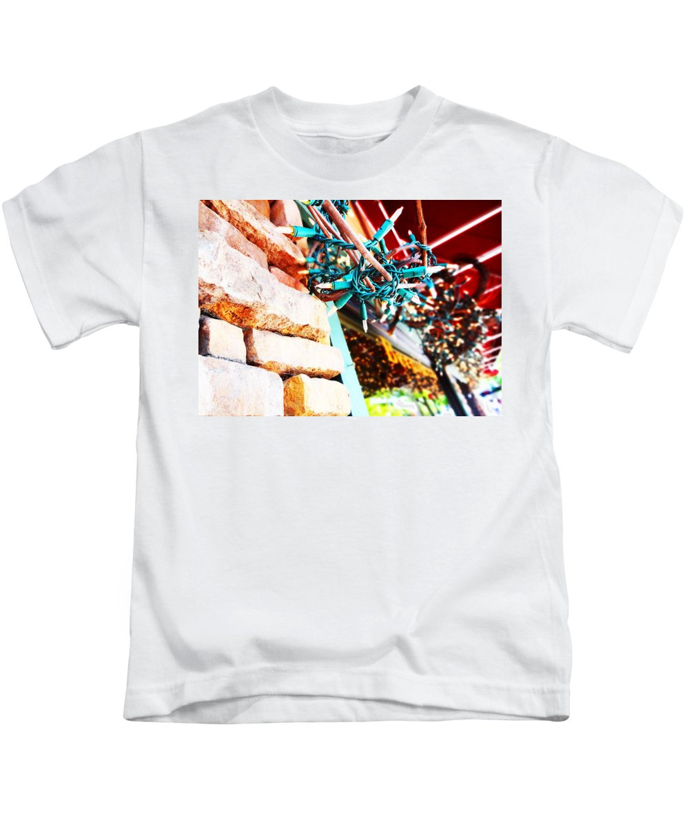 Brick Kids T-Shirt featuring the photograph Christmas Lights In Window by Korynn Neil
