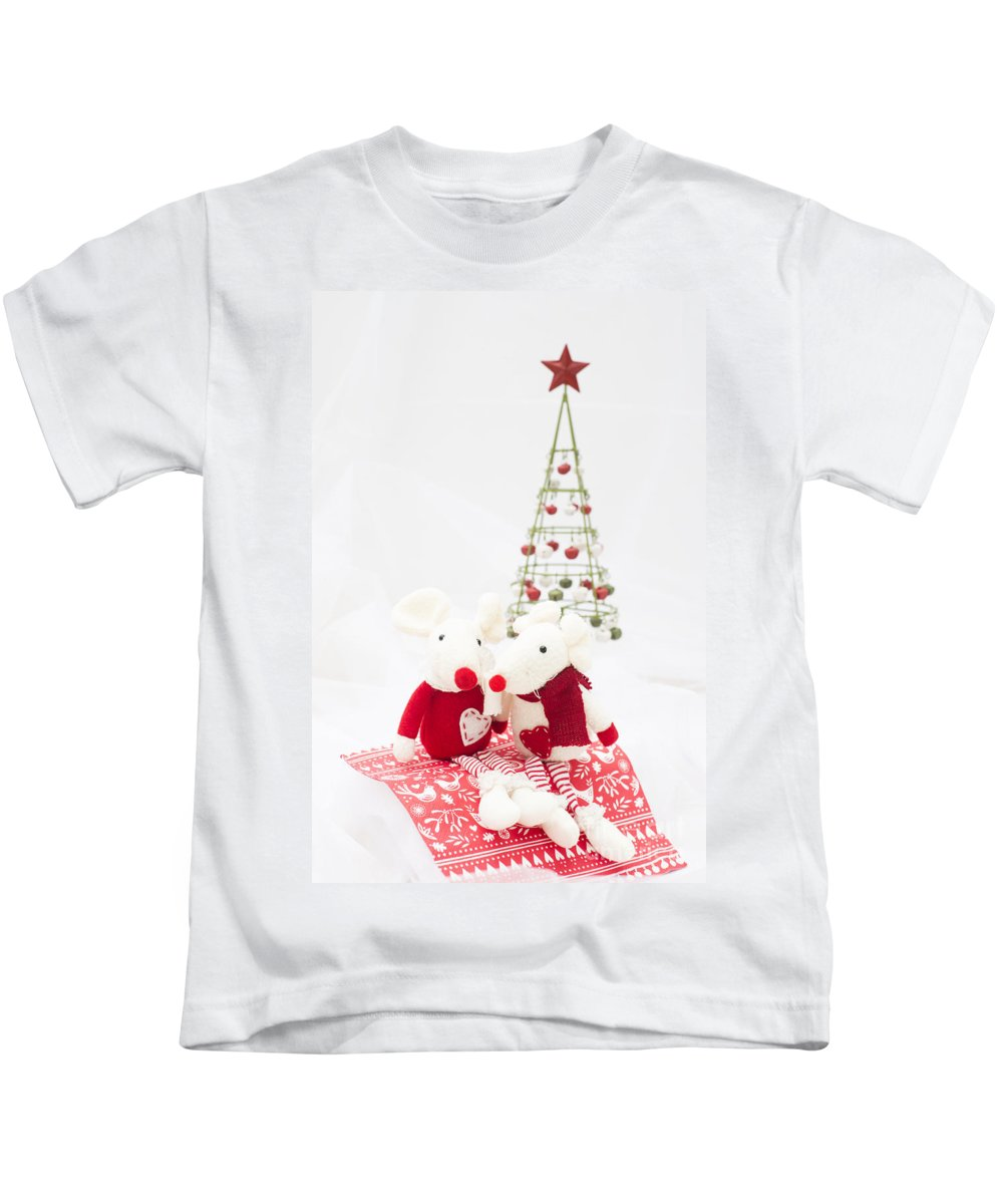 Background Kids T-Shirt featuring the photograph Christmas Mice by Anne Gilbert