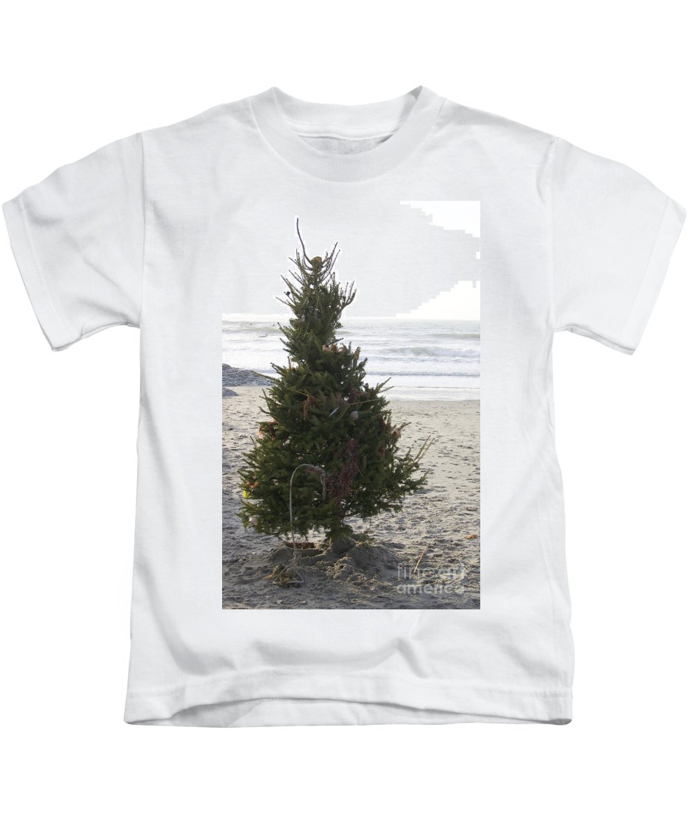 Christmas Tree Kids T-Shirt featuring the photograph Christmas On The Beach 1 by Michael Mooney