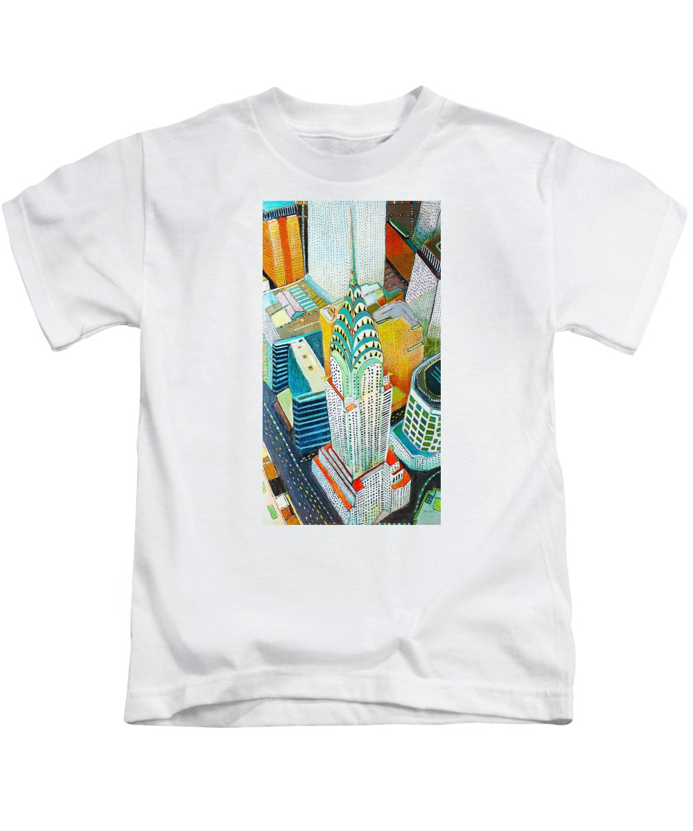 New York City Cityscape Painting Kids T-Shirt featuring the painting Chrysler Of Manhattan by Habib Ayat