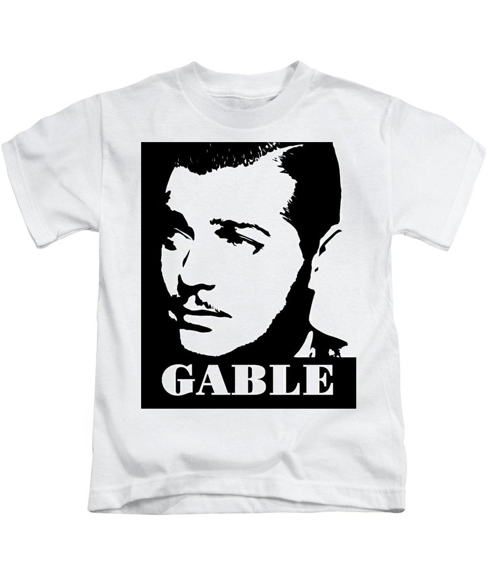 Clark Kids T-Shirt featuring the digital art Clark Gable Black And White Pop Art by David G Paul