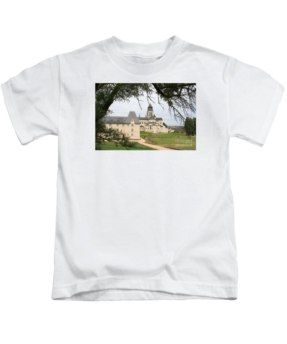 Cloister Kids T-Shirt featuring the photograph Cloister Fontevraud View - France by Christiane Schulze Art And Photography