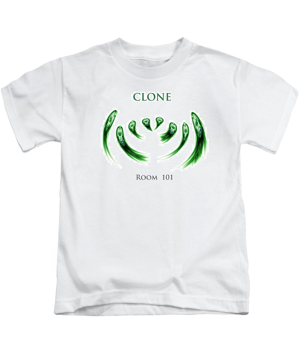 Orwell George Clone Clones Biology Mutant Mutation Gene Genes Technological Experiments Face Human Ethics Scientists  Kids T-Shirt featuring the digital art Clone Room 101 by Steve K