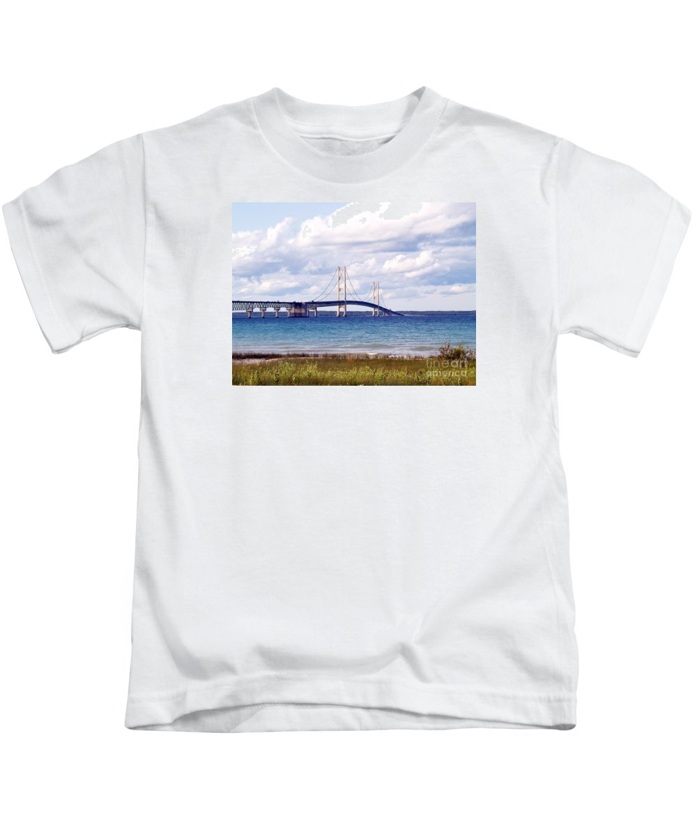 Bridge Kids T-Shirt featuring the photograph Clouds Over Mackinaw by Melissa McDole