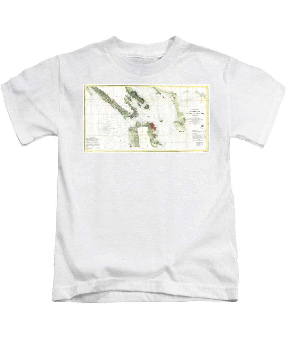 Kids T-Shirt featuring the photograph Coast Survey Map Of San Francisco Bay And City by Paul Fearn