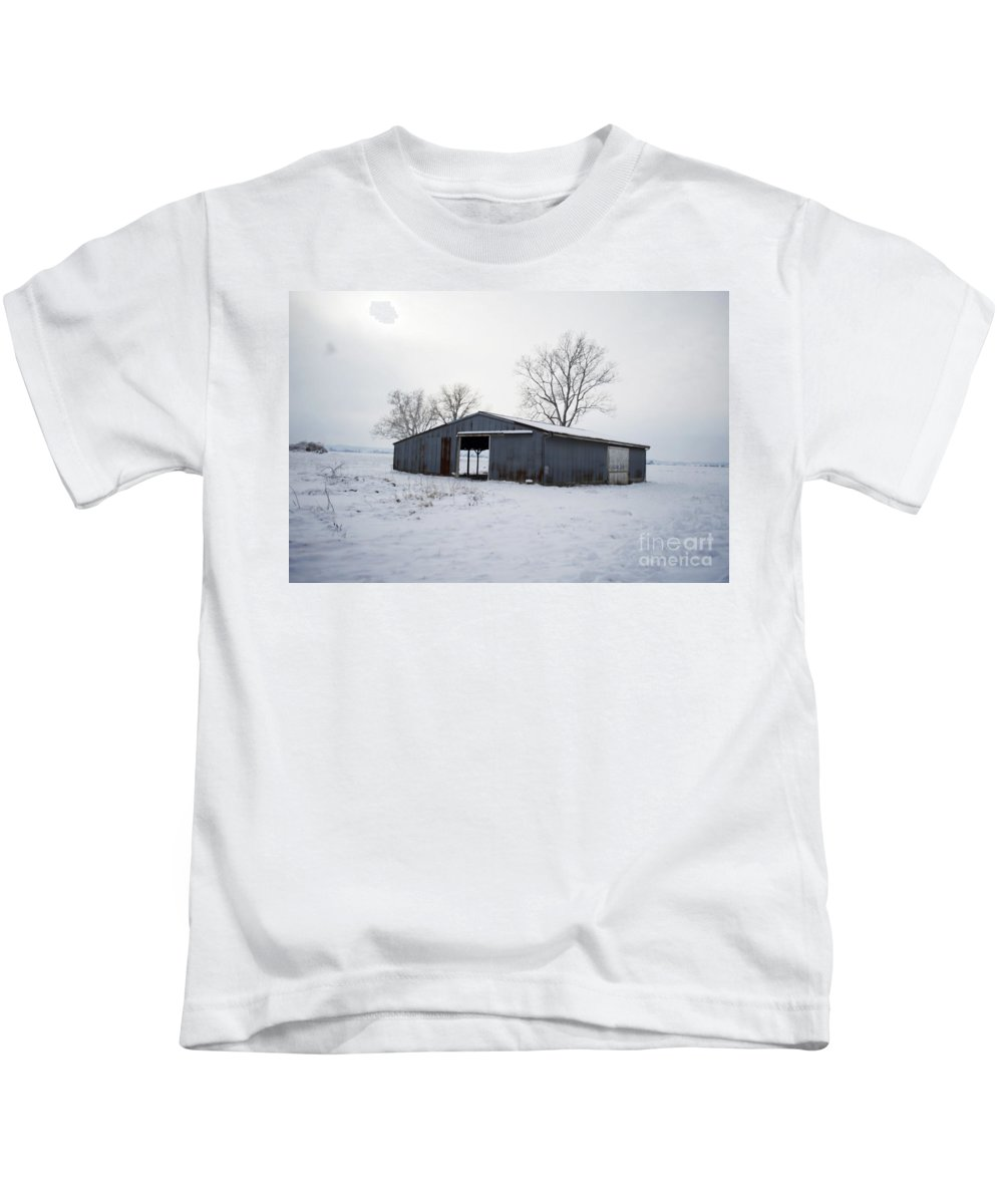 Kids T-Shirt featuring the photograph Cold Desolation by Luther Fine Art