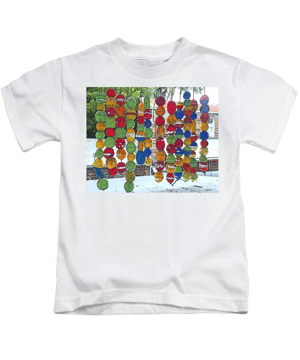 Colorful Fishing Floats Kids T-Shirt featuring the photograph Colorful Fishing Floats by Rebecca Korpita