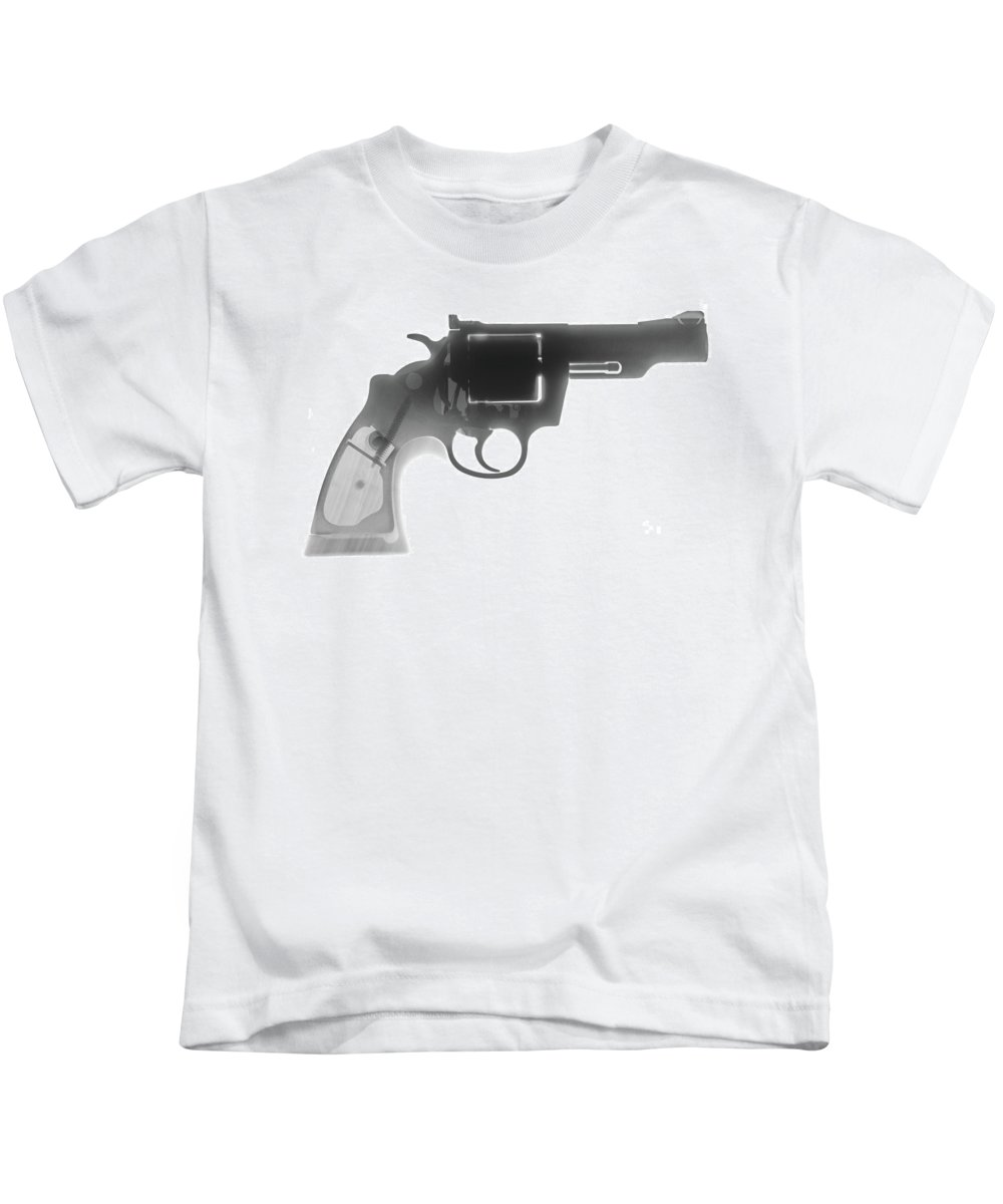 Gun Collectible Kids T-Shirt featuring the photograph Colt 357 Magnum X Ray Photograph by Ray Gunz